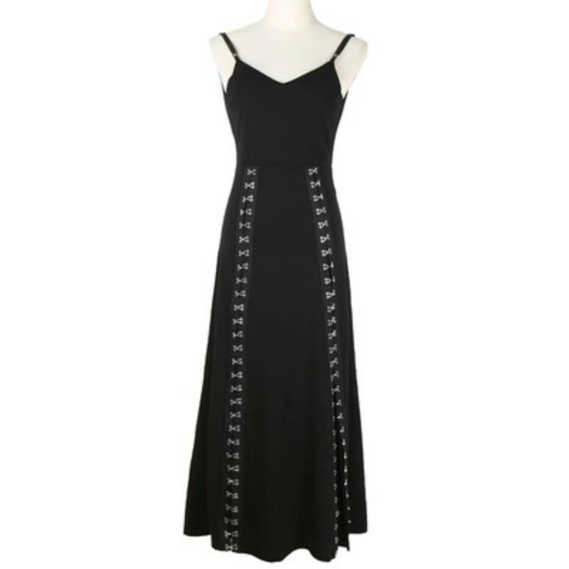 2019 original design metal hook split fork high waist heavy work black backless spaghetti strap long dress summer women 478 in Dresses from Women 39 s Clothing
