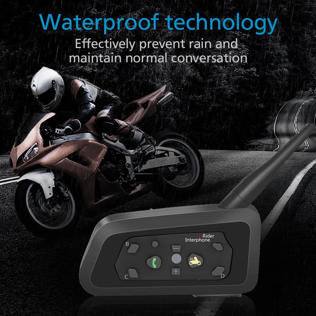 2 pièces de Casque de Moto Bluetooth Casques Interphone pour 6 coureurs BT Sans Fil intercomunicador Interphone MP3 Stéréo Moto Interphone