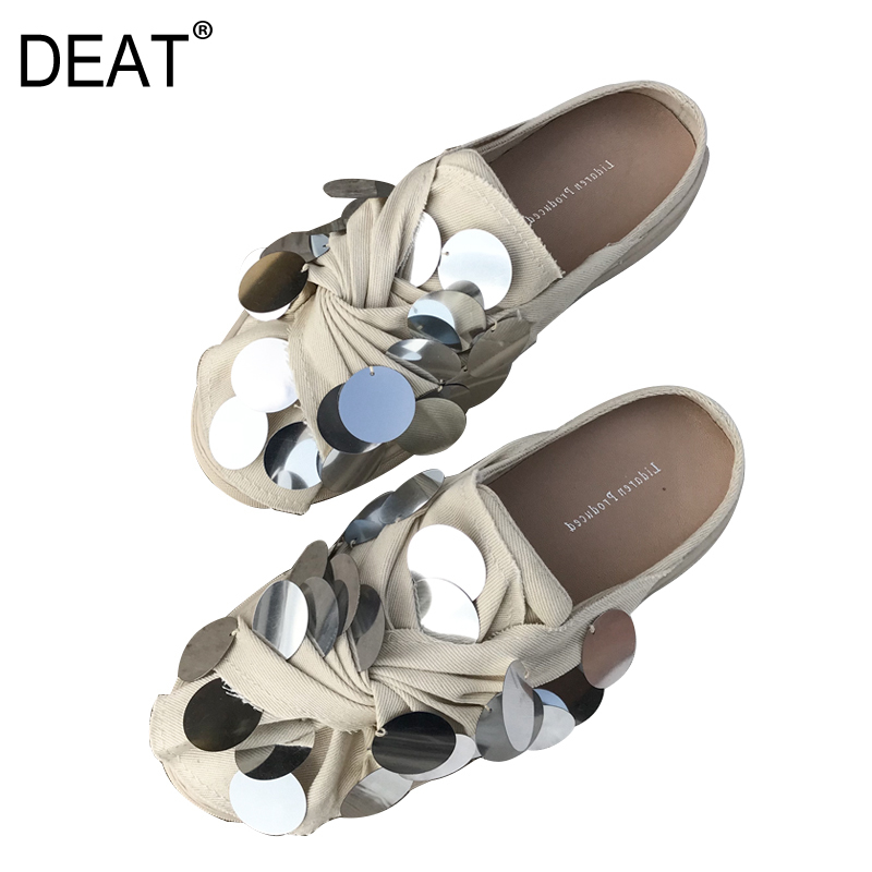 DEAT 2019 New Spring Summer Milky White Round Toe Bling Spliced Pleated Canvas Slippers Women