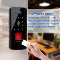 Cerradura biométrica de la puerta de la huella digital cerradura eléctrica de la huella digital con El teclado táctil tarjeta inteligente Control remoto de la Oficina cerradura de cristal del hogar