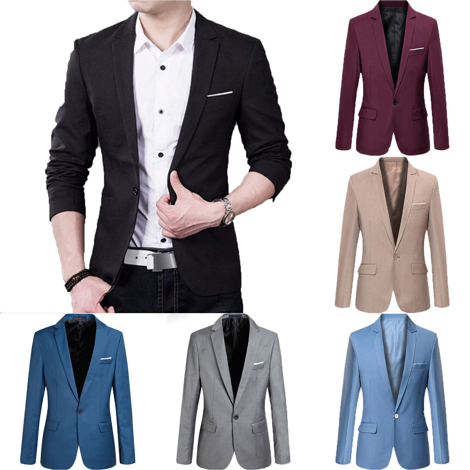 d7cb01fab3e Hot Sale Fashion Men Casual Solid Slim Fit Formal One Button Suit Blazer  Coat Jacket Blazer