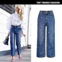 Zinwoco High Waist Jeans Bell Bottom Jeans Plus Size Women Jeans Pearl Decoration Loose Fashion Women Sexy Pant Vintage Leisure