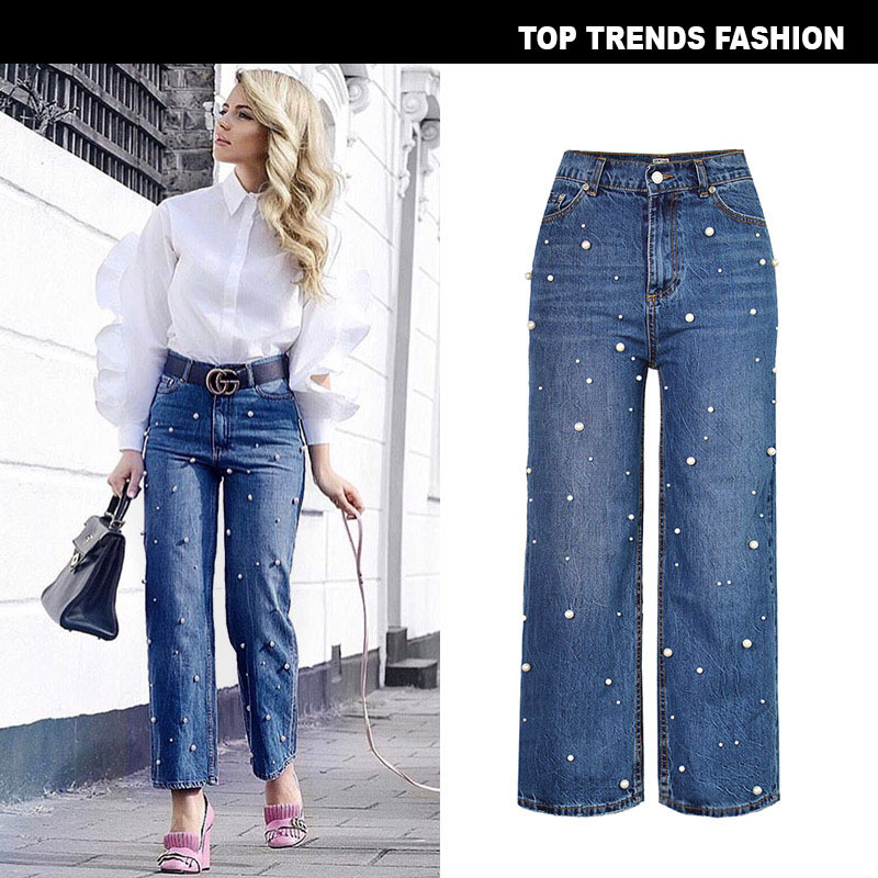 Zinwoco Taille Haute Jeans Cloche Jeans Bas Plus La Taille Femmes Jeans Perle Décoration Lâche De Mode Femmes Sexy Pantalon Vintage Loisirs