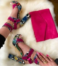 Newest 2019 Multi Snakeskin Womens Square Heel Sandals Peep Toe Cut-out Ankle Strap Buckle Platform Dress Shoes Big Sale colorful crystal women shoes ankle peep toe high heel buckle newest real photo sandals metal buckle platform shoes bling hotsale