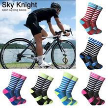 New Colorful Stripe Sport Cycling Riding Socks Comfortable Breathable Outdoor Bikes Running Football Baseball Socks For Men 2018 unisex cycling stars new cycling socks comfortable breathable men sports bikes running socks women breathable socks