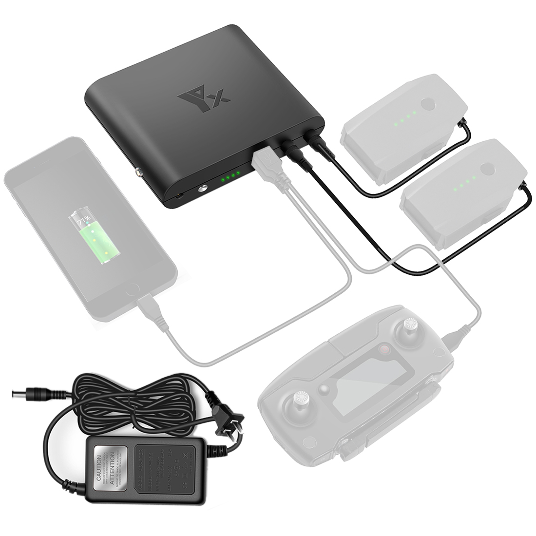 Charging Power Bank Mobile Power Transverter Outdoor Charger for DJI Mavic Pro Battery Remote Controller Phone