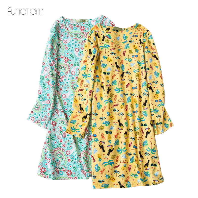 Korean Style New Women Cartoon pijama   Nightgowns   100% Cotton   Sleepshirts   For Girls Spring Summer Nightwear Plus Size Tracksuit