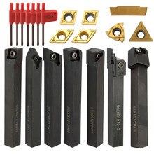 21 pièces outils de tournage tour outil tour Cutter carbure monobloc Inserts bois tournant porte-outils barre d'alésage avec clés Korloy