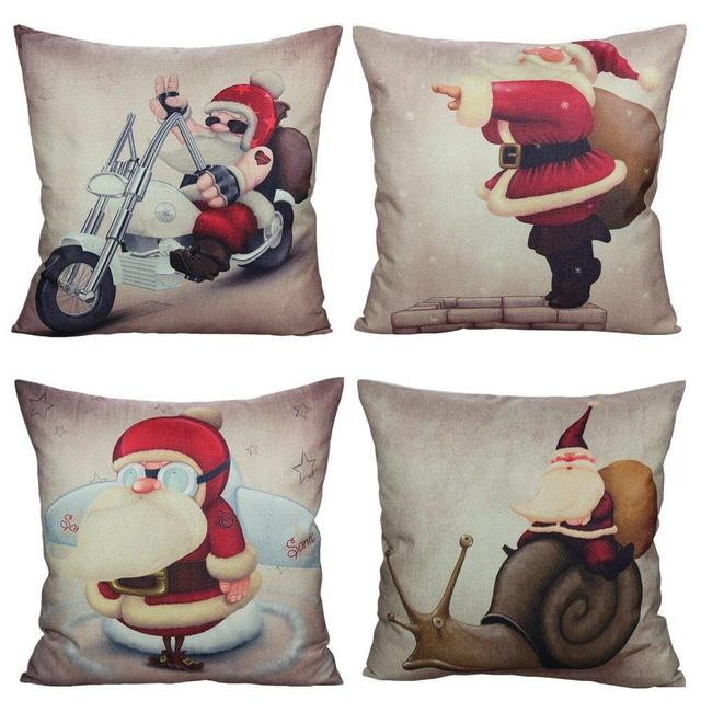 hot sale santa christmas decor throw pillow covers case decorative retro xmas cushion linen decoration vintage