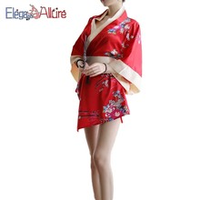 E&A Sexy Underwear Women Lingerie Cosplay Japanese Kimono Costume Halloween Floral Robe Nightgown Yukata Clothes Babydoll
