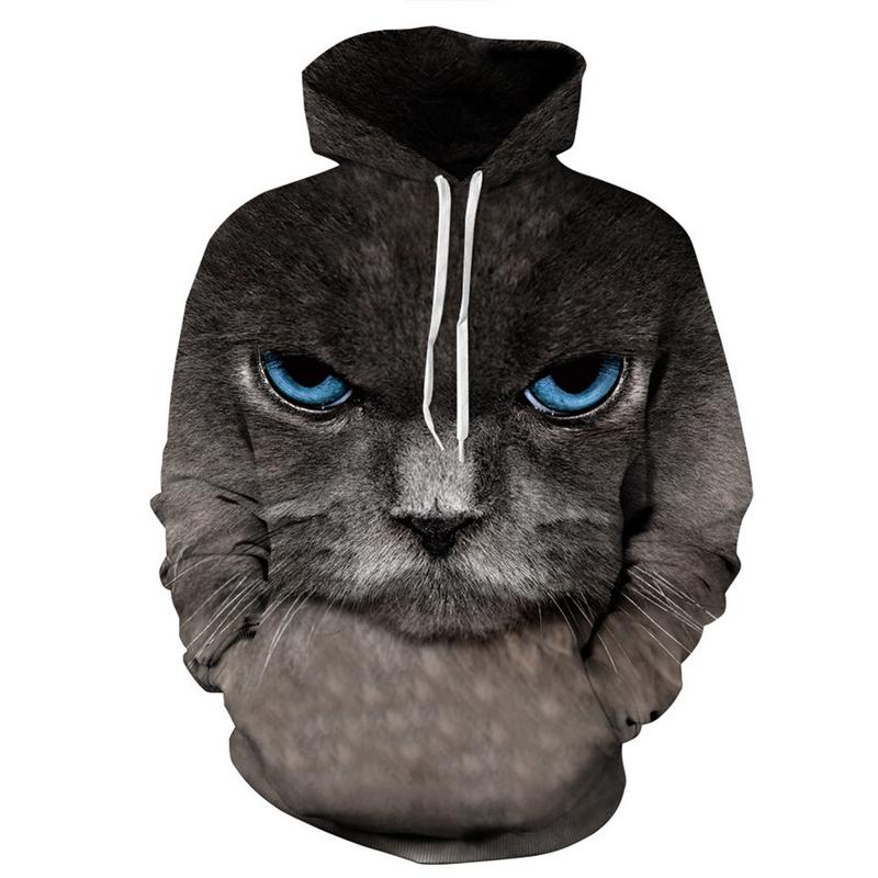 2019 New Cat Digital Printing Hooded Track European And American Boutique Men And Women Loaded Large Size Baseball Uniform