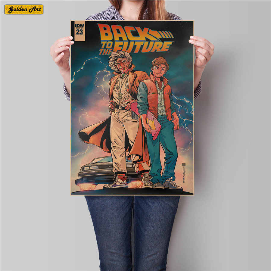 Black to Future movie vintage kraft paper poster retro bar cafe painting bedroom living room wall art print picture 45.5x31.5cm