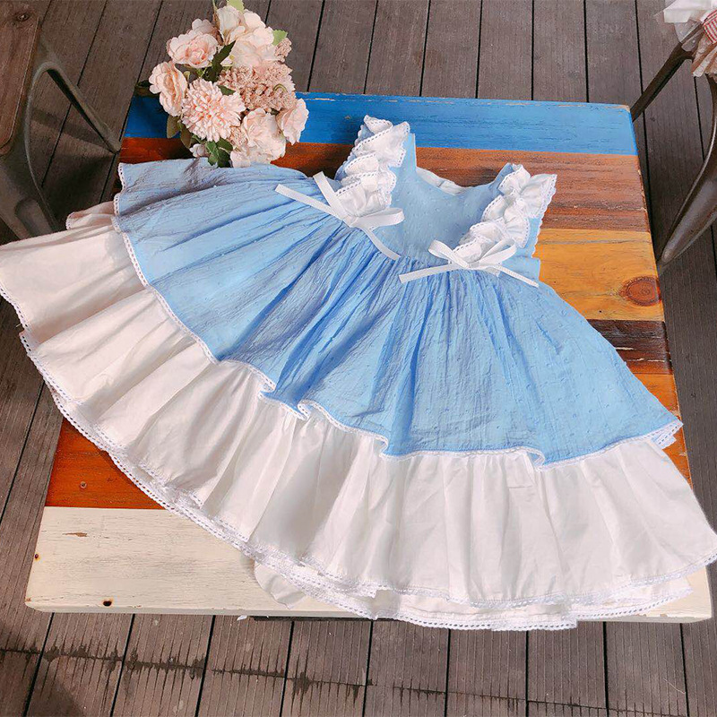 6510 Blue Ruffles Lace Tutu Princess Baby Girl Dress 2019New Summer Wedding Party Kid Dress For