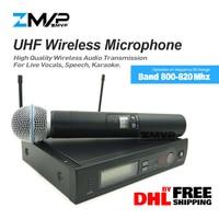Free Shipping by DHL,FEDEX Professional SLX24 UHF Wireless Microphone Karaoke SLX Cordless System with BETA58 Handheld 58A Mic