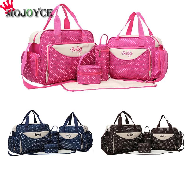 5pcs Baby Diaper Bag Suits Large Capacity For Mom Baby Bottle Holder Mother Mummy Stroller Maternity Nappy Handbag Sets