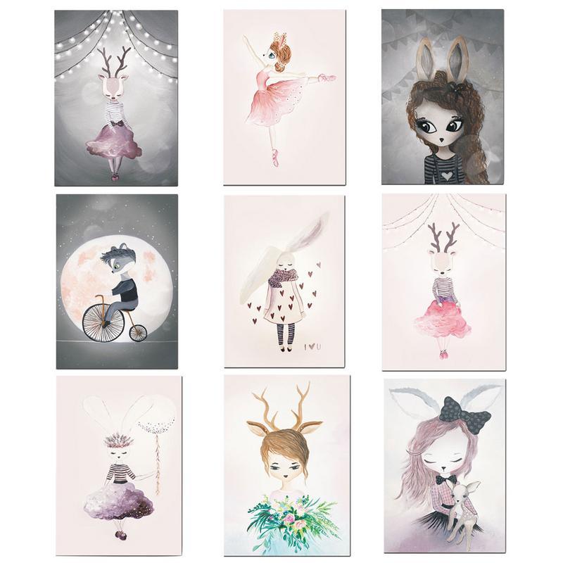 Nordic Dream Rabbit Fairy Girl Cartoon Hangings Children Room Kindergarten Oil Painting Wall Decoration Drawing Core