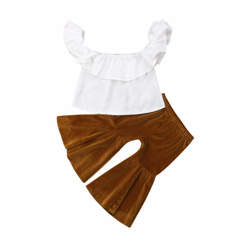 0-5Y Newborn Infant Toddler Baby Kids Girl Clothes Clothings Solid color Top+Flares Pants Bell Bottoms Hot Outfits Set Sunsuit
