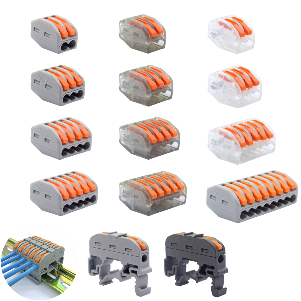 Free Shipping (30-100 pieces/batch) mini fast wire connector Transparent plug-in terminal block Universal compact wire connector