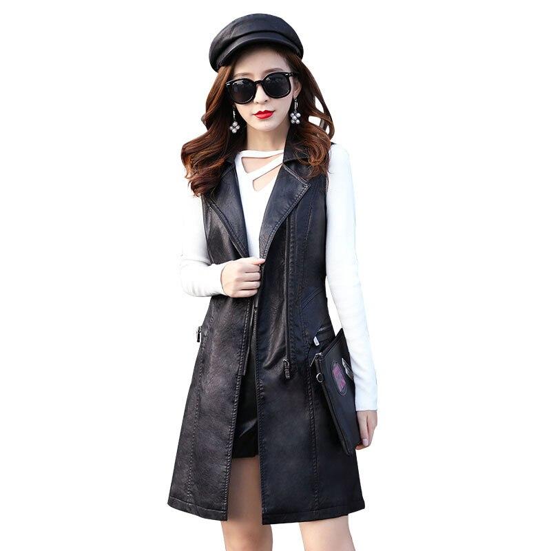 #0714 Spring Long Faux Leather Vest Blazer Women PU Sleeveless Jacket Femme Waistcoat Office Suit Vest Women Slim Fit Plus Size