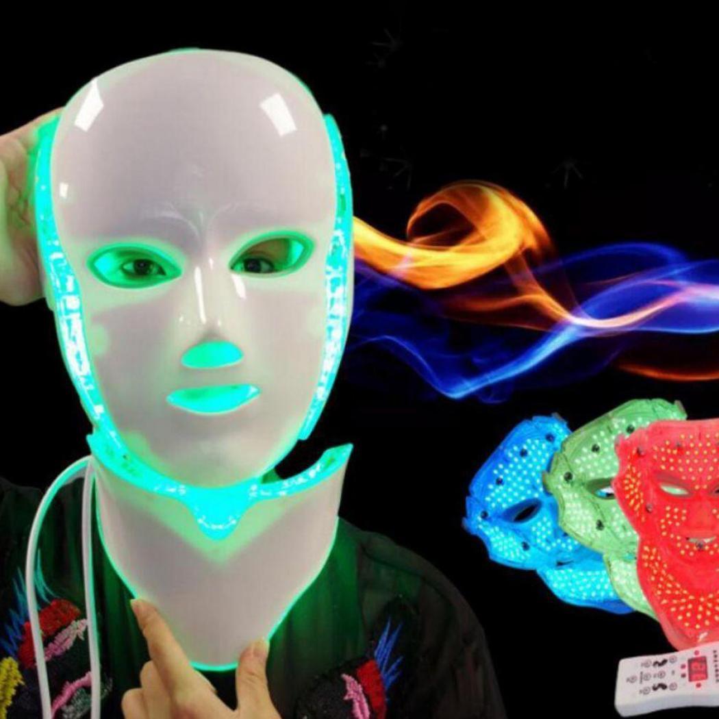 7 couleurs lumière LED masque Facial beauté peau masque Facial rajeunissement du visage rides acné cou blanchissant serrer Instrument Spa