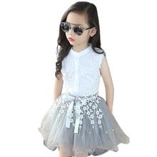 b85c7d296 Chicas de verano conjuntos de ropa de niñas de encaje camiseta + faldas  niños 2 piezas flor arco corbata falda Children'S ropa