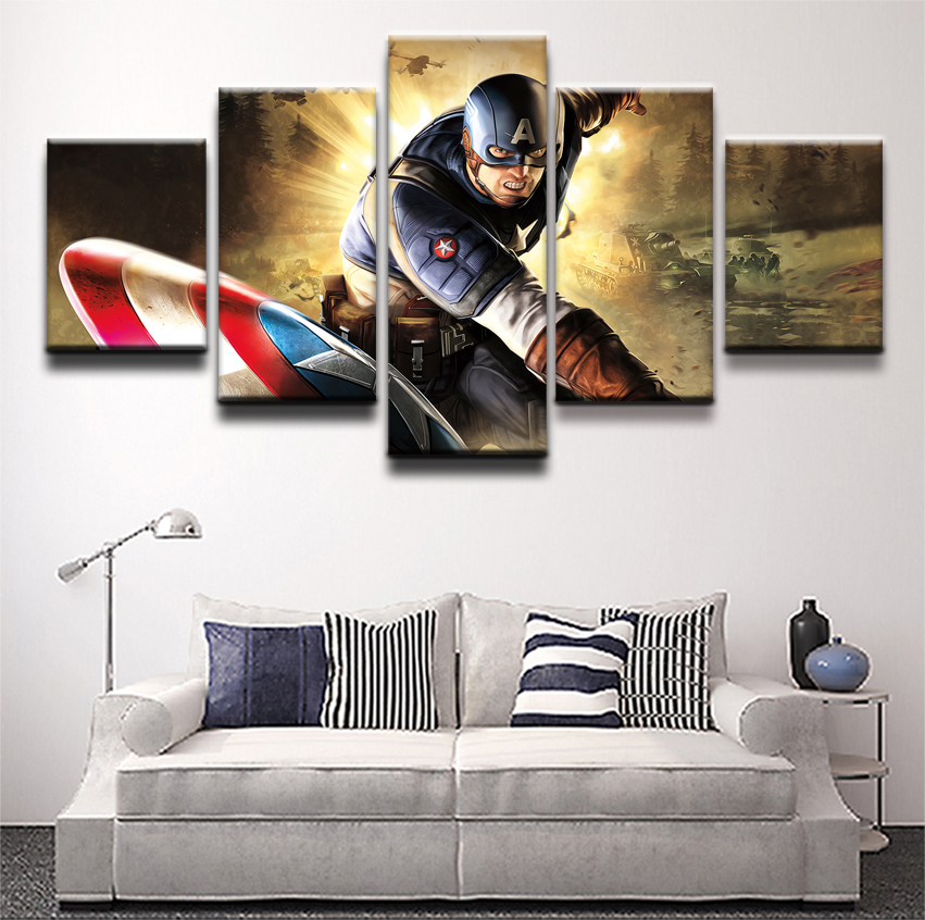 Canvas Painting Modular Poster 5 Pieces Comics Captain America Wall Art Home Decor Living Room Canvas Printed Picture Artwork in Painting Calligraphy from Home Garden