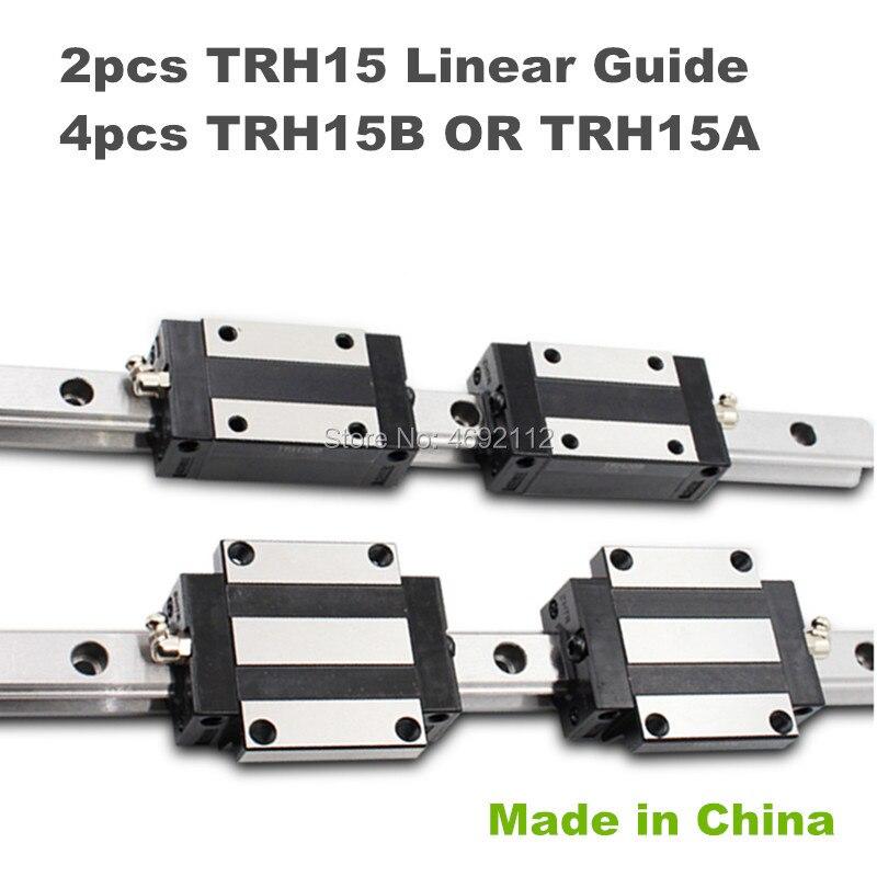 15mm width Precision Linear Guide Rail 2pcs TRH15 350mm to 1050mm Linear rail way 4pcs TRH15B