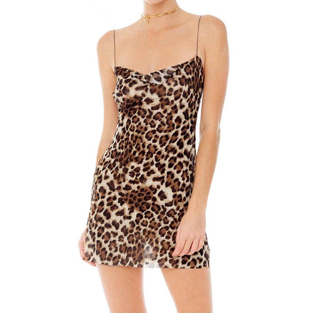 2019 frauen Sexy Sommer Leopard Drucken Ärmel Bandage Partei Bodycon Abend Schlank Mini Kleid Größe S-L
