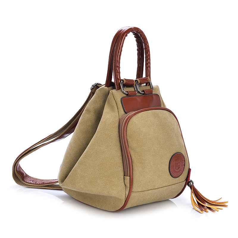 Image 2 - Fashion Canvas Backpack Women Leisure Back Pack Ladies Knapsack Casual Backbags for School Teenage Classic Bagpack With TasselBackpacks   -
