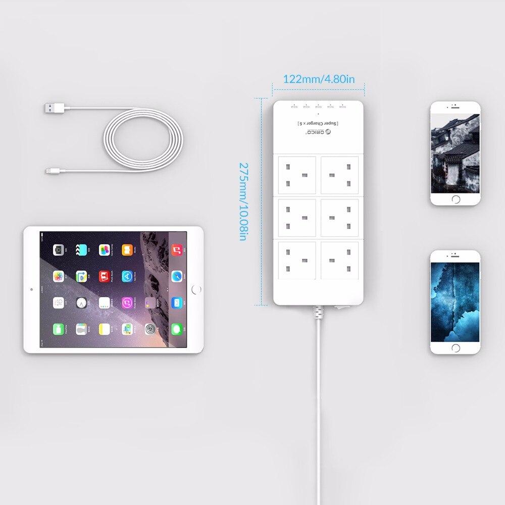 ORICO HPC-6A5U-UK-WH bureau à domicile UK Plug USB chargeur de voyage adaptateur avec 6 prises multiprise parafoudre 5 pieds cordon d'alimentation - 5
