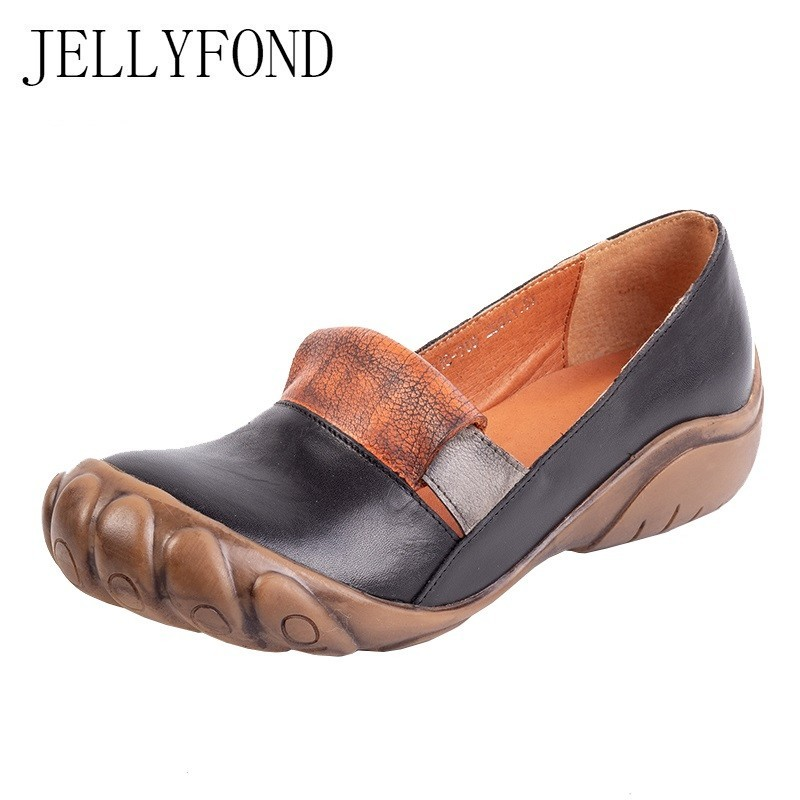 Vintage 2019 Casual Flats Women Genuine Leather Ladies Loafers Handmade Shoes Woman Round Toe Slip On Driving Moccasins Footwear