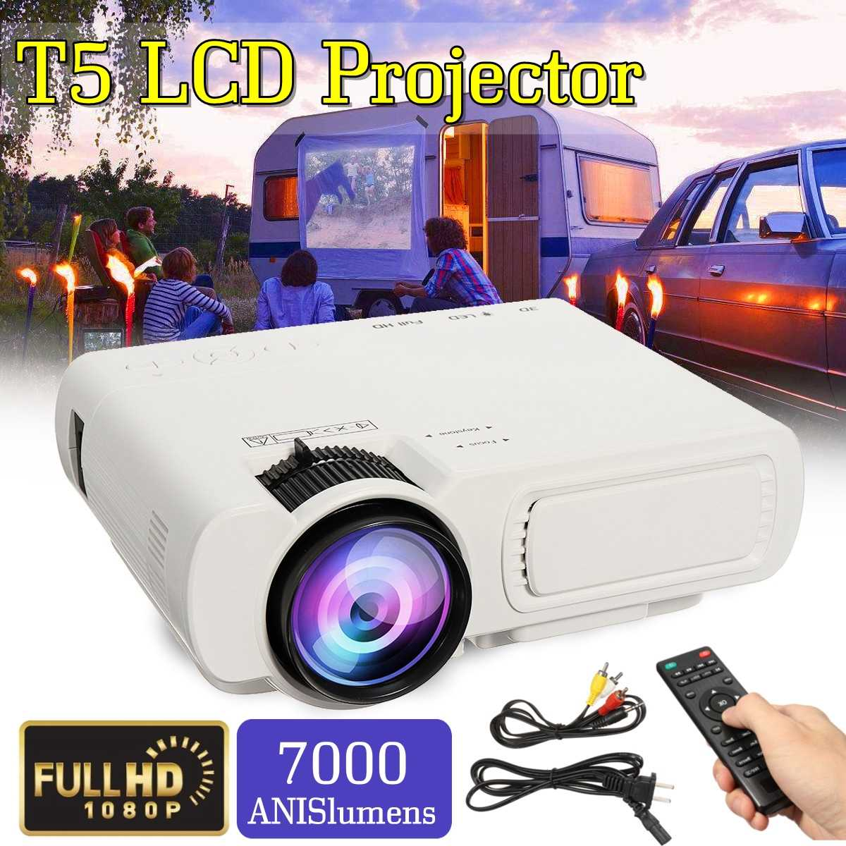 1080 люмен 7000 светодио дный P 3D светодиодный проектор домашний кинотеатр Bluetooth Мультимедиа HDMI/USB/VGA