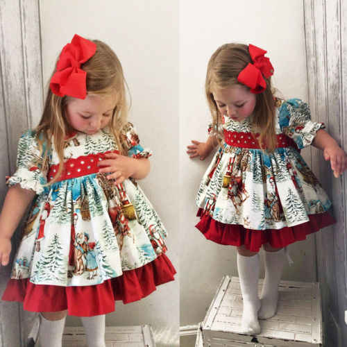 Toddler Christmas Outfit.New Vintage Toddler Kid Baby Girl Christmas Elements Partten Flared Party Santa Swing Mini Princess Dress Clothes 2 6t
