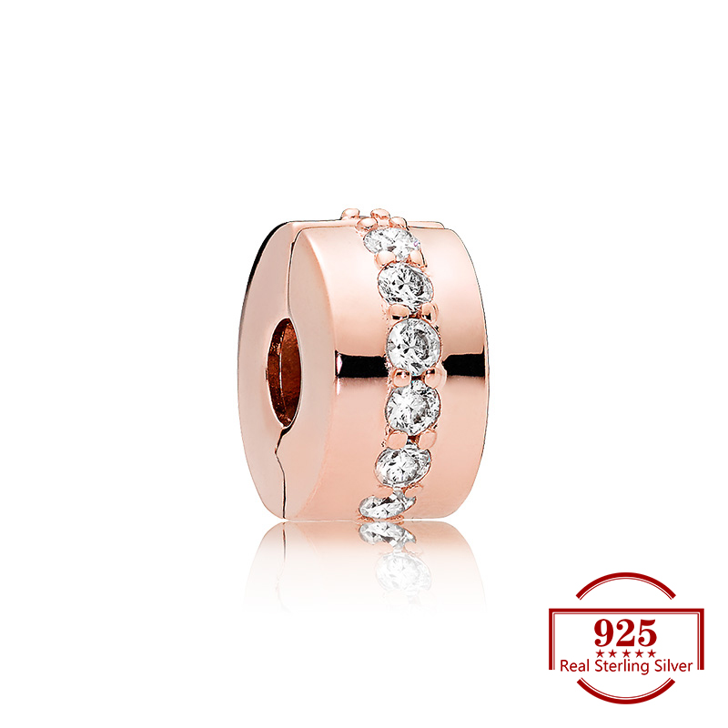 Rose Gold Zircon Positioning Buckle Charms Diy Beads Original  Charm 925 Sterling Silver Bracelet Women Trendy JewelryRose Gold Zircon Positioning Buckle Charms Diy Beads Original  Charm 925 Sterling Silver Bracelet Women Trendy Jewelry
