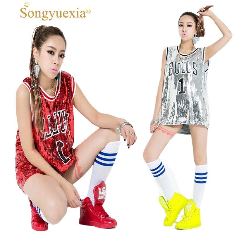 SONGYUEXIA Woman Ds Performance Wear Hiphop Hip-hop Jazz Modern Dance Costume Bull Paillette Plus Size Vest Singer Stage Costume