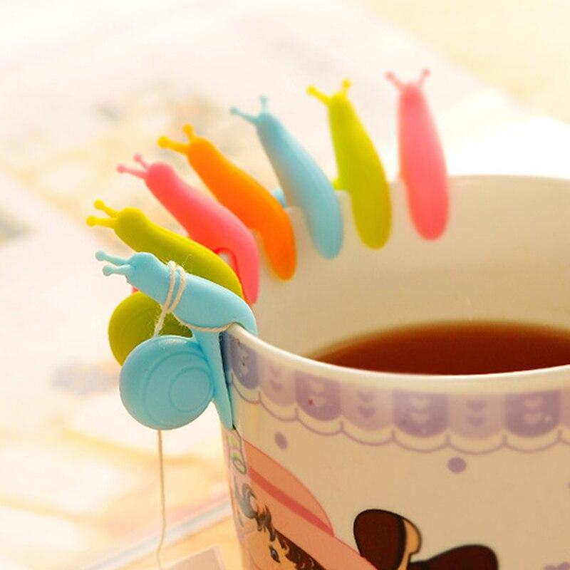 10pcs Snail Silicone Tea Infuser Bag Holder Strainer Clip Cup Mug Random Color