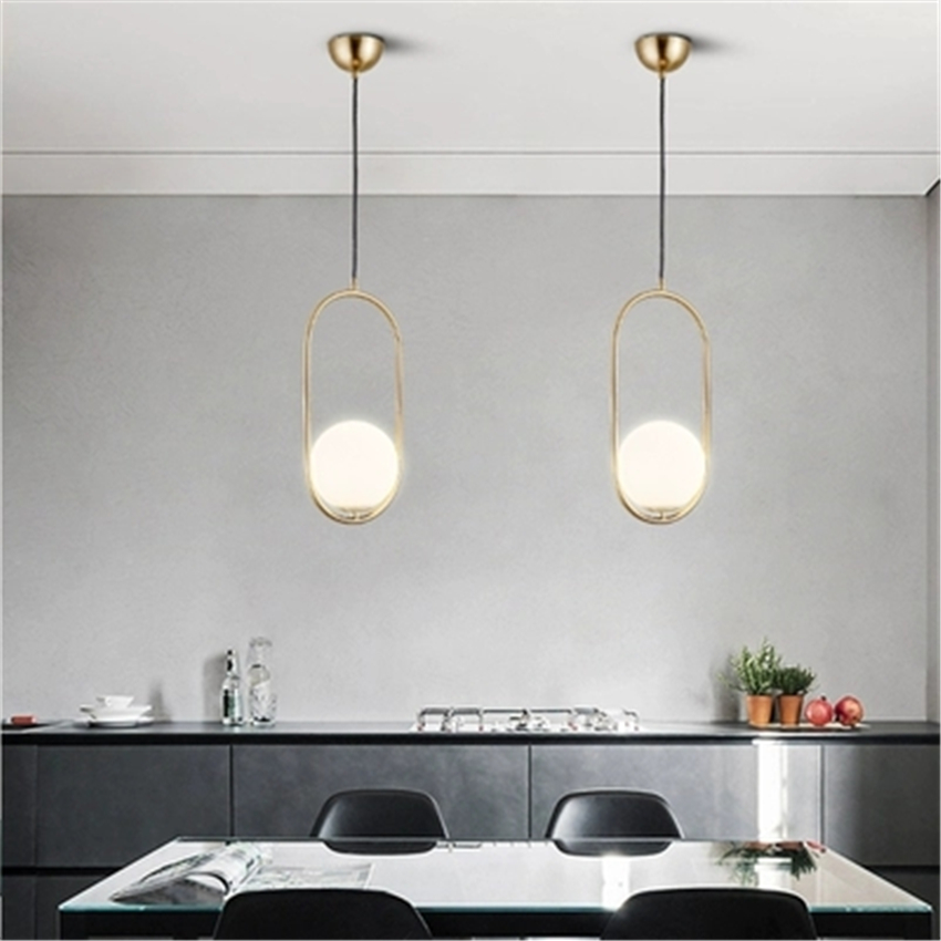 Modern Gold LED Glass Pendant Lights Loft Pendant Lamps Dining Room Living Room Cafe Bedroom Glass Ball HangLamps Decor Fixtures 3 heads pendant lamps dining room glass pendant light living room lights bedroom pendant lamps iron lamp fg552