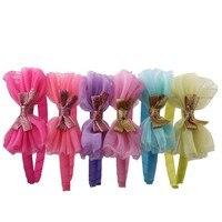 96pcs Hair Hoop Headwear Butterfly Bow Headbands Hair Decorate Satin Rainbow Hairbands Girl Kids Hair Accessories Headdress DIY