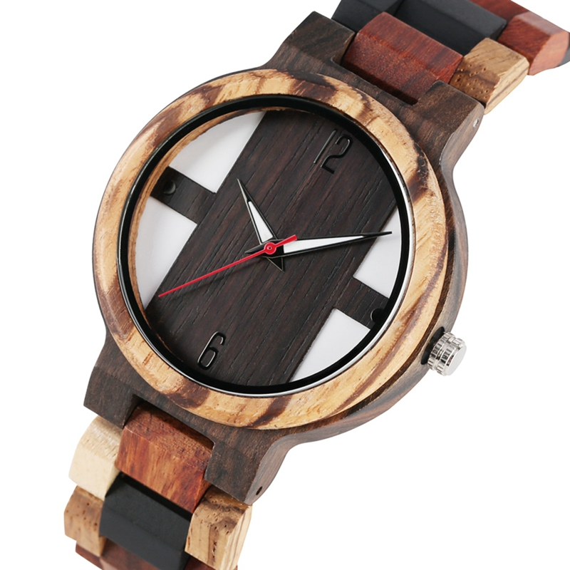 Men's Wood Watches Retro Ebony Wood Clock Male Unique Mixed Color Wooden Adjustable Band Quartz Wristwatch Relogio Masculino(China)