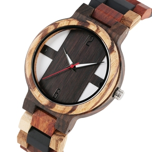Image 1 - גברים של עץ שעונים רטרו אבוני עץ שעון זכר ייחודי מעורב צבע עץ מתכוונן בנד קוורץ שעוני יד Relogio Masculino