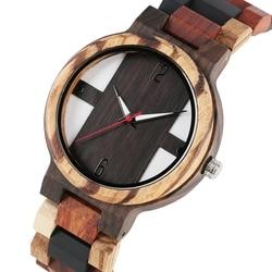 Men's Wood Watches Retro Ebony Wood Clock Male Unique Mixed Color Wooden Adjustable Band Quartz Wristwatch Relogio Masculino