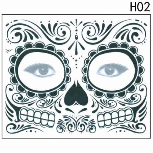 2019 جديد هالوين الميت المؤقتة الوشم ملصق قناع الزهور تصميم السكر الجمجمة شكل الوجه الجسم الفن القابل للإزالة