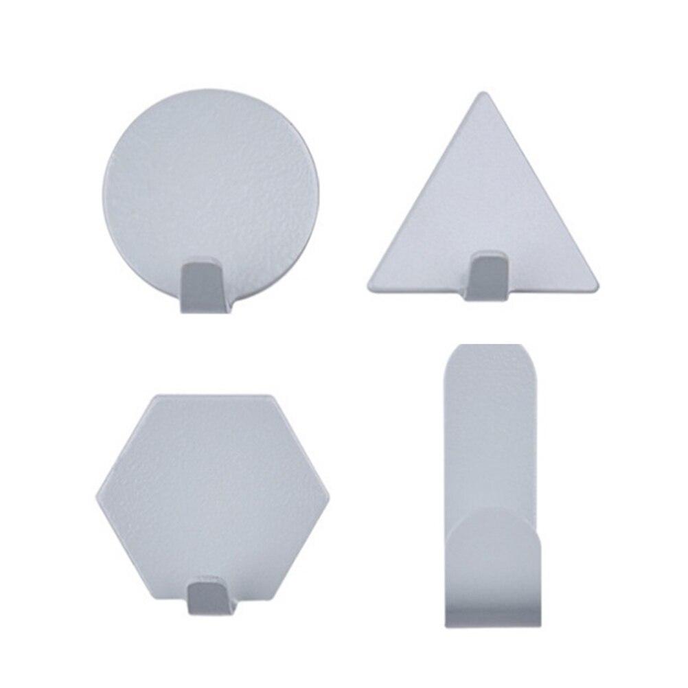 4 Stuks Zelfklevende Haken Creatieve Geometrische Ijzeren Muur Mount Haken Punch Gratis Handdoek Hangers (wit)