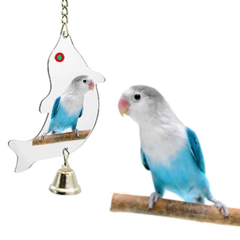 6 أحجام وجه واحد مرآة الببغاء جرس لعبة الحيوانات الأليفة الطيور مرآة لعبة سوينغ الطيور قفص اللعب مع جرس شنقا قفص لعبة ل الببغاء الطيور