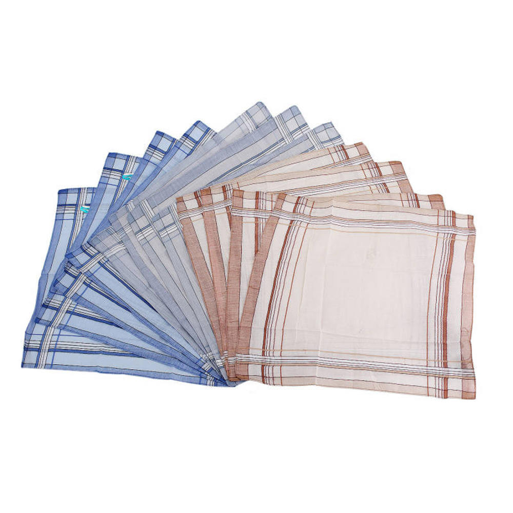 38*38cm Square Plaid Stripe Handkerchiefs Men Classic Pocket Cotton Towel For Wedding Party Random Color