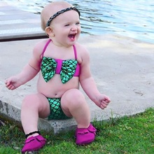 Infant baby girl two-piece mermaid swimsuit bow fish scales tankini swimsuit