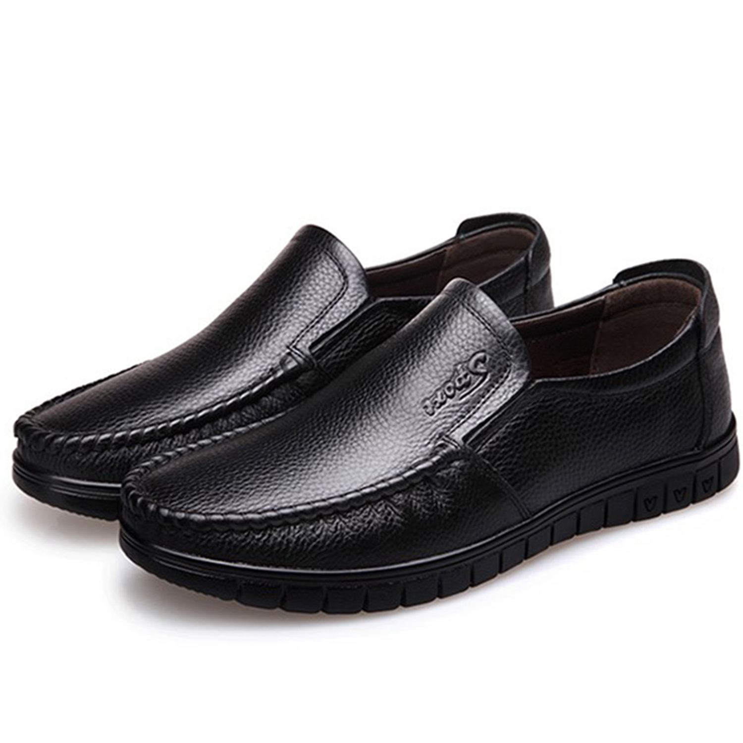 FGGS Men Soft Leather Loafers 2018 Spring Summer Male Casual Shoes Genuine Leather Moccasin Flat Breathable Driving Shoe