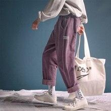 2019 남자 복고풍 스타일 코듀로이 패브릭 캐주얼 하렘 스트레이트 바지 따뜻한 4 색 느슨한 바지 M 2XL 면화 인쇄