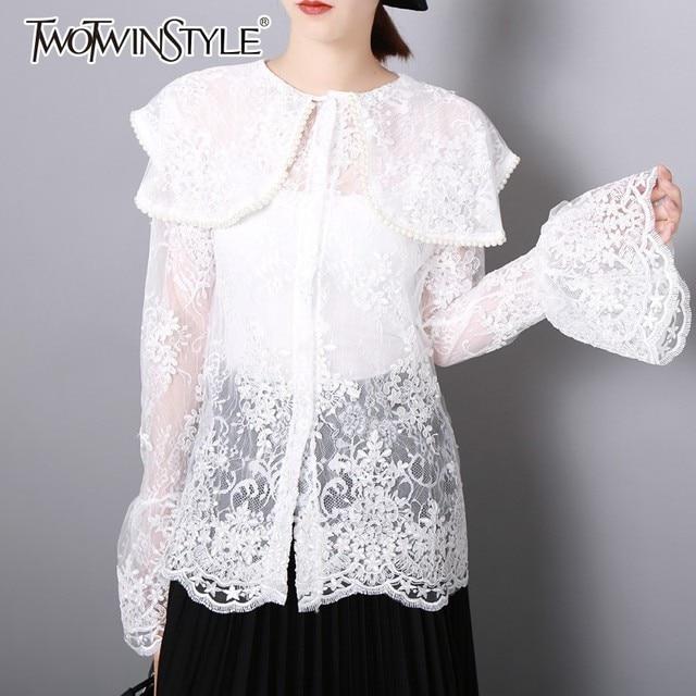 Deuxtwinstyle dentelle dessus de chemise femme Flare manches longues Perspective perles Blouse pour les femmes élégant mode coréenne 2018 automne