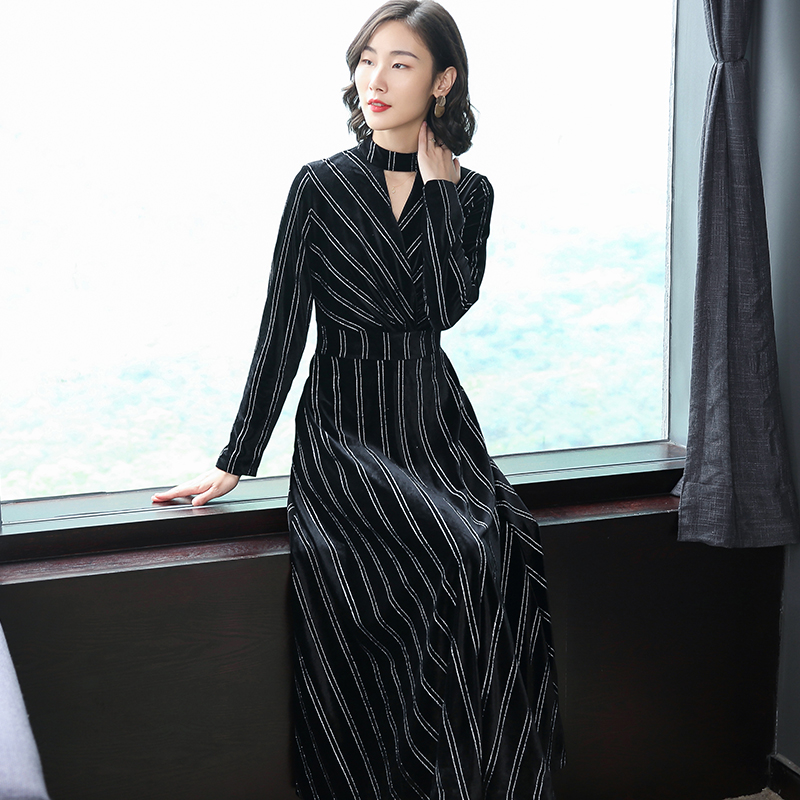 new velvet dress lady dresses long sleeve vestido stripe clothes casual outfits 2018 autumn winter girl clothing party S-XXL